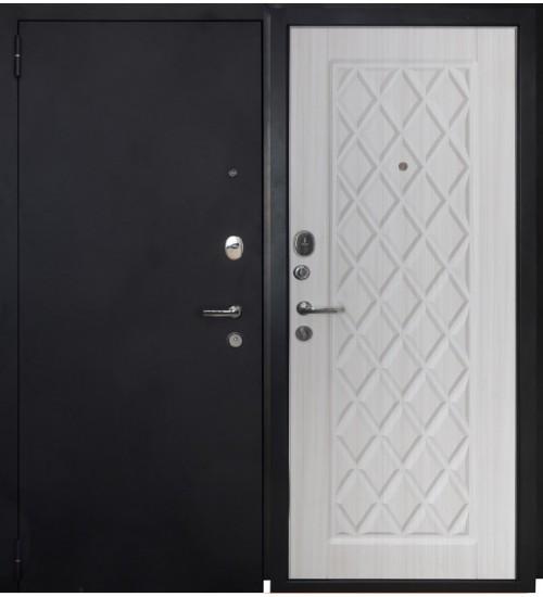 Стальная дверь Форт 02Ф черный муар/белый ясень