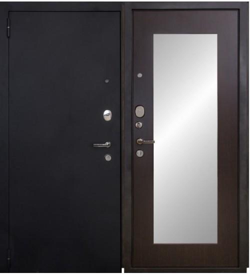 Стальная дверь Форт 03Z черный муар/венге с зеркалом