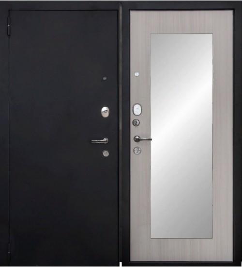Стальная дверь Форт 03Z черный муар/белый ясень с зеркалом