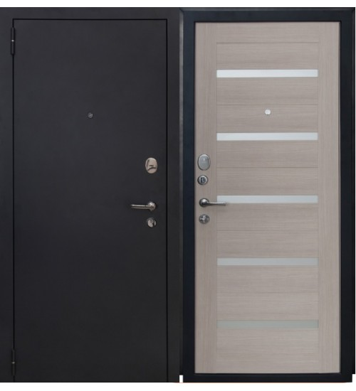 Стальная дверь Форт 06 черный муар/капучино царга