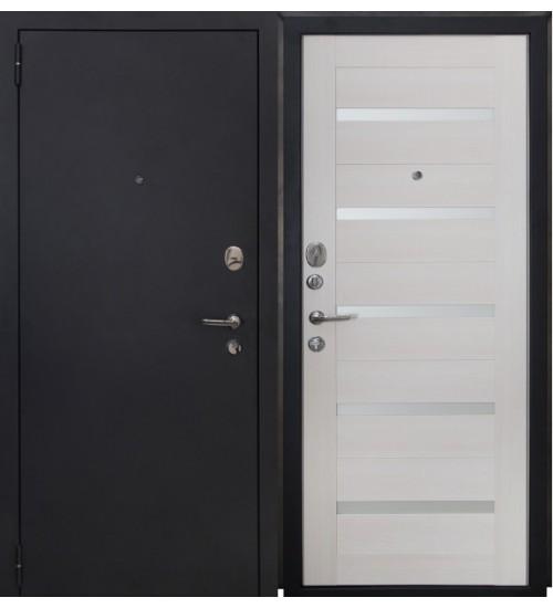 Стальная дверь Форт 04 черный муар/белый ясень царга