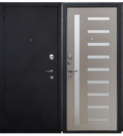 Стальная дверь Форт 07 черный муар/капучино царга