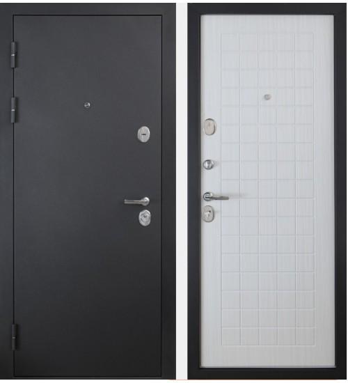 Стальная дверь Форт 91 черный муар/белый ясень