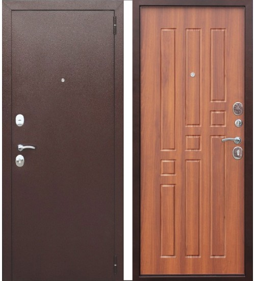 Стальная дверь Гарда медь 8мм рустикальный дуб