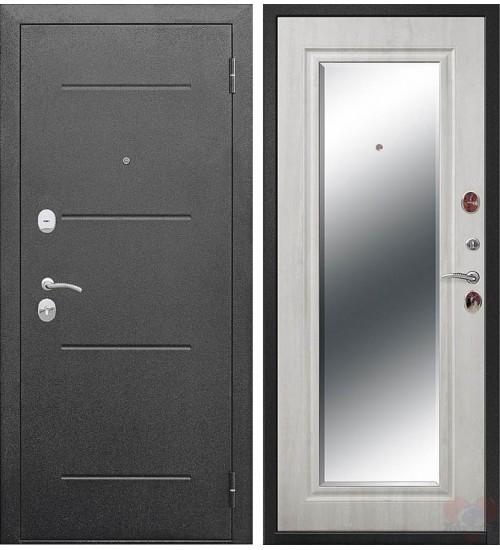 Дверь Гарда 7,5см серебро/ясень белый с зеркалом