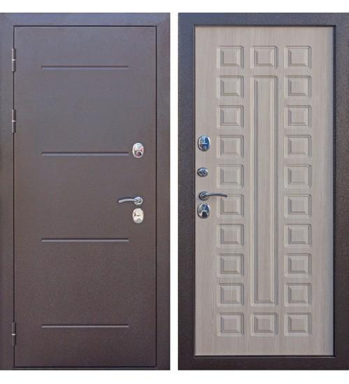 Входная уличная дверь Isoterma антик медь/лиственница мокко