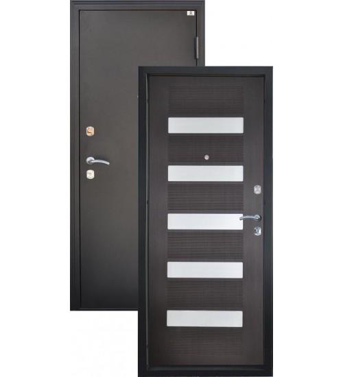 Входная дверь Катюша черный металлик/венге+белый лакобель