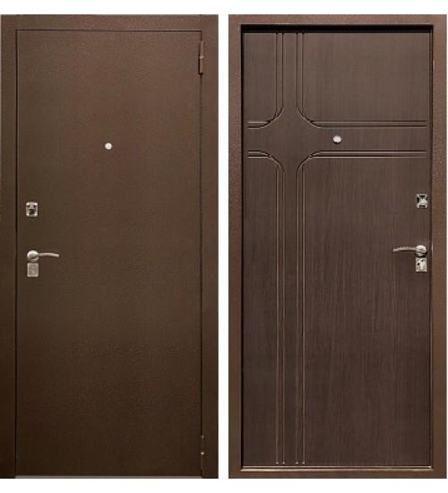 Стальная дверь Хит-10 антик медь/орех темный