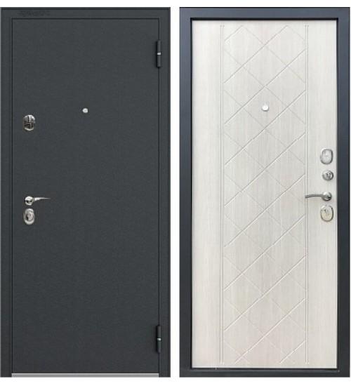 Стальная дверь Хит-11 черный муар/беленый  дуб