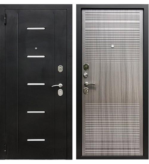 Стальная дверь Хит-12 черный муар/сандал серый