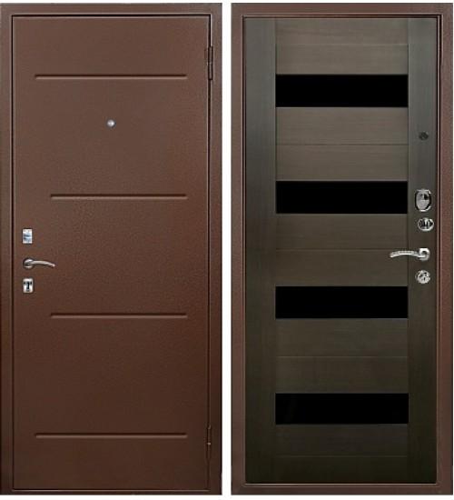 Стальная дверь Хит-132 антик медь/орех темный