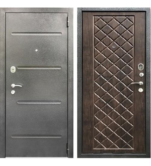 Стальная дверь Хит-14 антик серебро/тиковое дерево