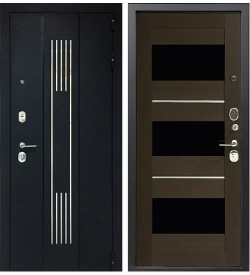 Стальная дверь Хит-162 черный сатин/орех темный