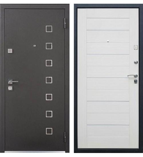 Стальная дверь Хит-6 черный шелк/беленый дуб
