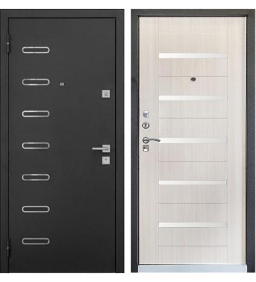 Стальная дверь Хит-8 черный шелк/беленый дуб