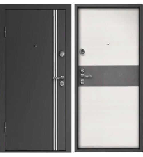 Стальная дверь Конструктор М-10 2мм графит/элеганс №464 белый ясень вставка бетон темный