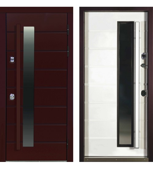 Входная уличная дверь Леон термо (Leon Termo) Myap Sahara Ferox Light/Дуб кантри белый горизонт