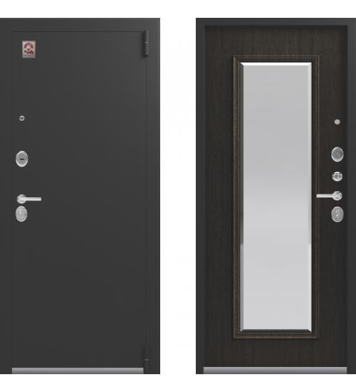 Металлическая дверь Центурион, LUX-1, зеркало, черный муар/орех премиум