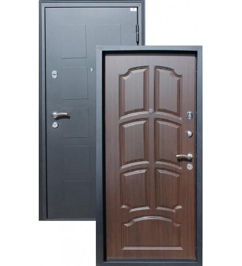 Входная дверь Обь черный металлик/венге