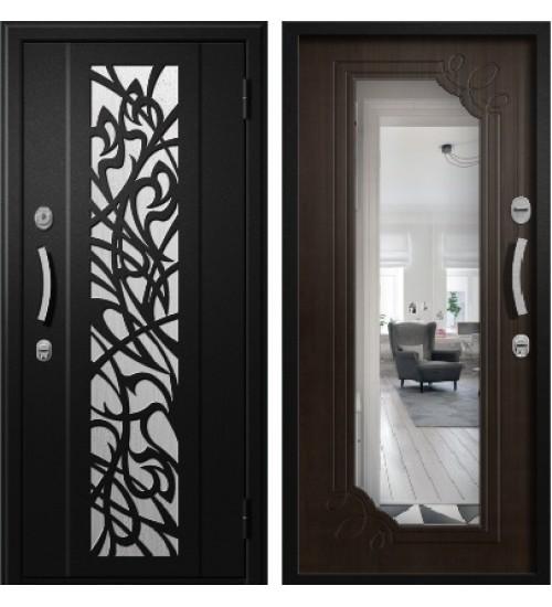Стальная дверь Алмаз Сириус черный металлик/каштан+зеркало