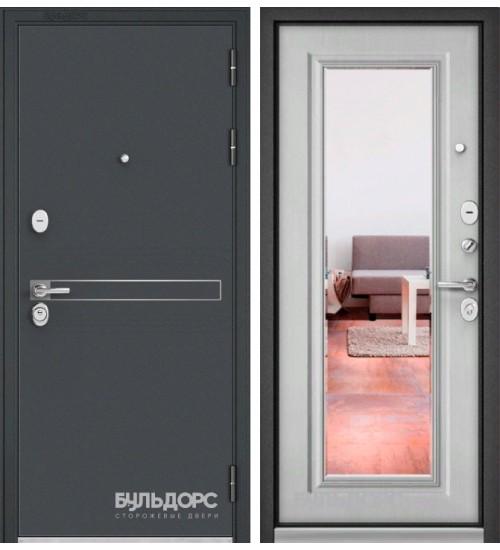 Входная дверь Бульдорс Standart-90 черный шелк D-4/дуб белый матовый 9S-140 зеркало