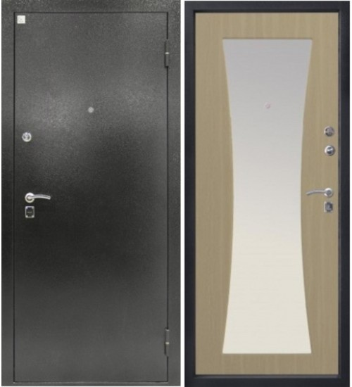 Дверь Топаз-2 Z 102 серебро/беленый дуб+зеркало