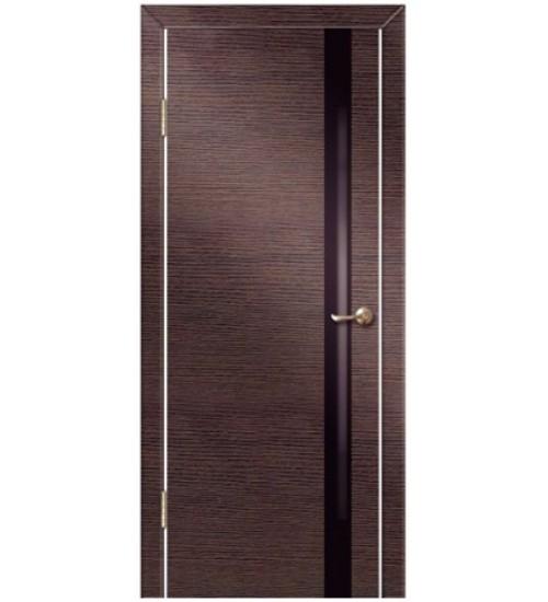 Дверь Техно-2 черное стекло венге/беленый дуб