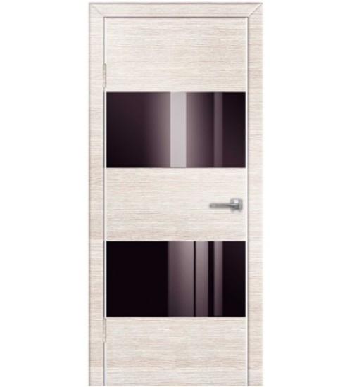 Дверь Техно-5 черное стекло венге/беленый дуб